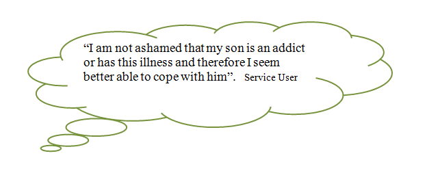 quote about addiction in a speech bubble