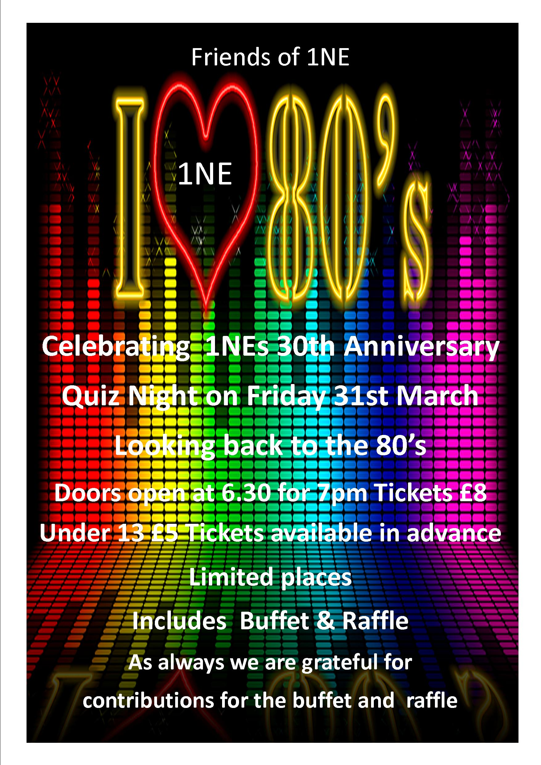 80's Quiz Night 31st March