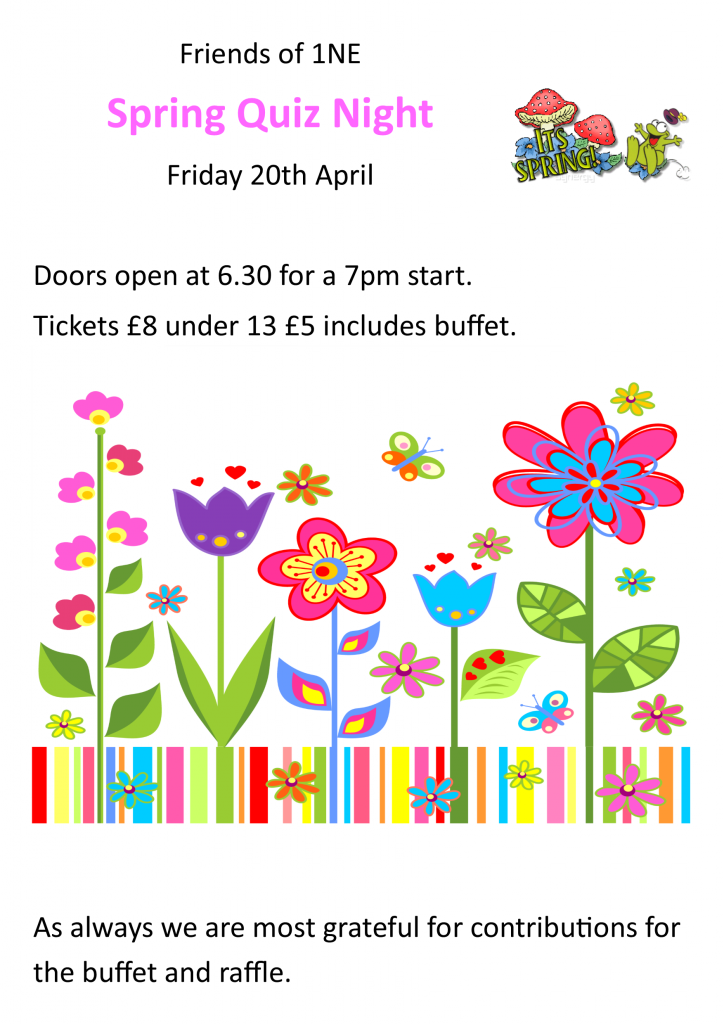 flyer for the Spring quiz night