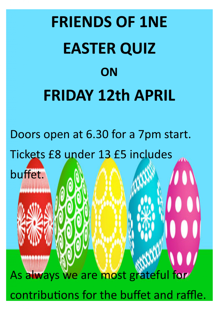 flyer advertising a quiz at Easter